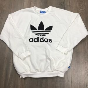 Adidas White Trefoil Crewneck Pullover
